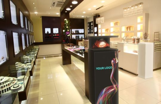 Hologram and Levitating display in jewellery store